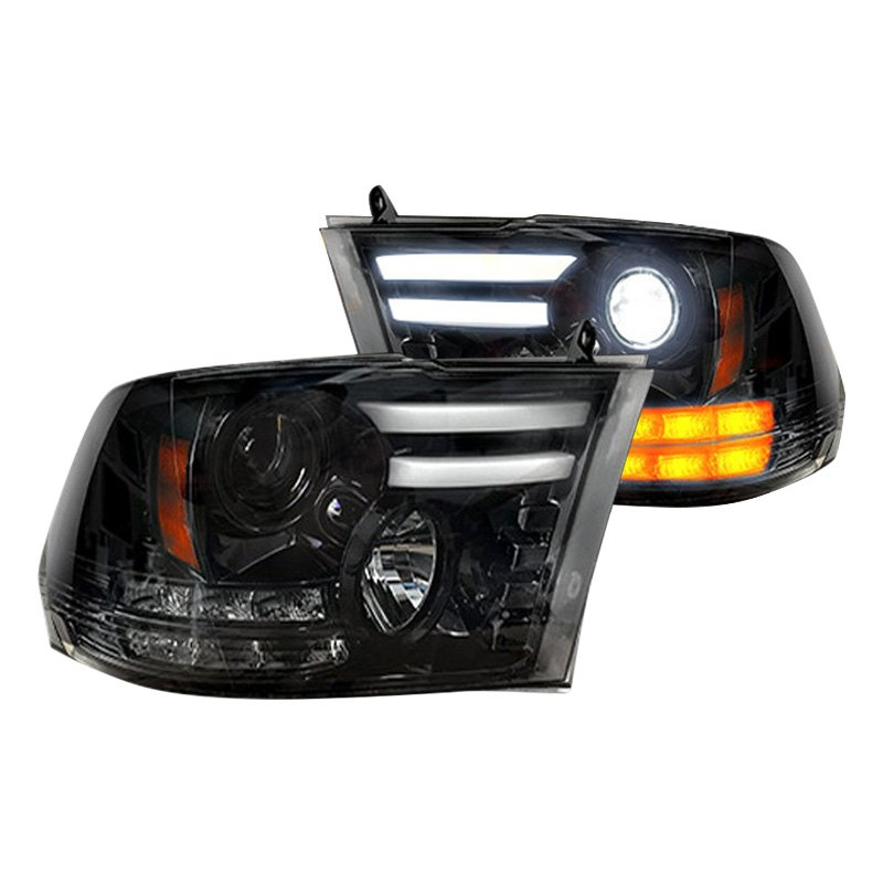 buy cheap Recon® 264276BKC - Black/Smoke DRL Bar Projector Headlights with LED Turn Signal for 2015 RAM 1500 TRUCK Ebay & Amazon