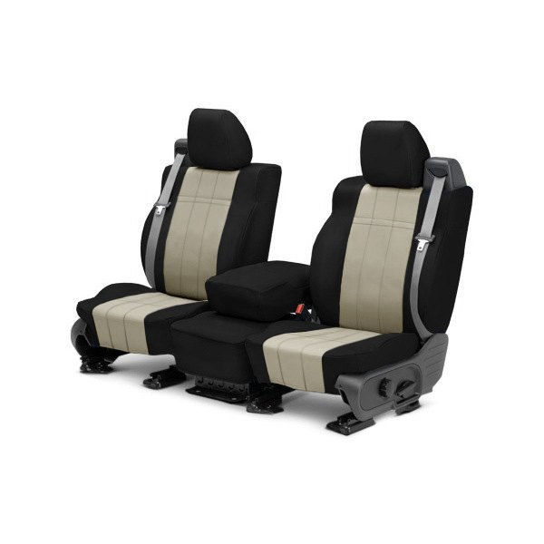 buy cheap CalTrend® DG279-05LB - I Can't Believe It's Not Leather 1st Row Black & Sandstone Custom Seat Covers for 2015 RAM 1500 TRUCK Ebay & Amazon